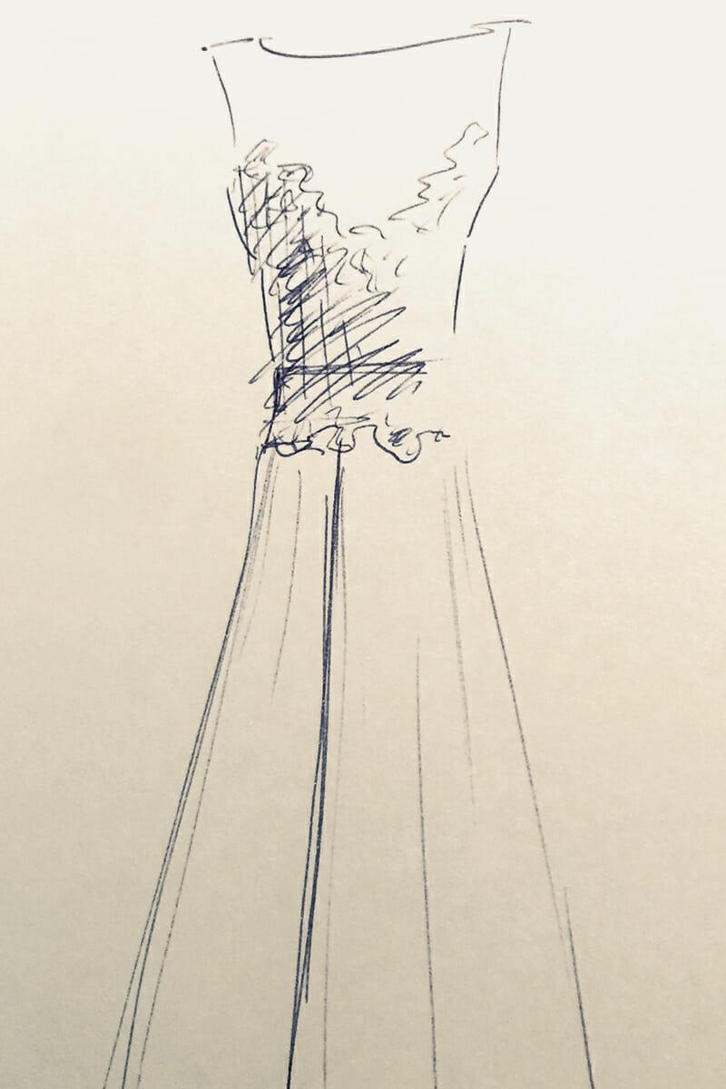Brautkleid-Skizze von ANNE WOLF